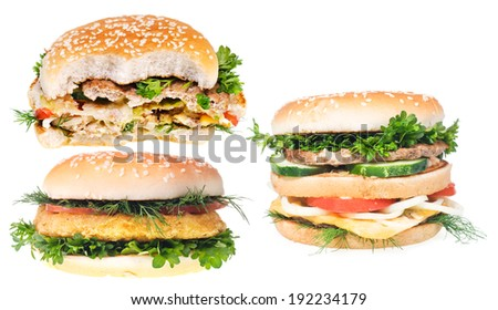Hamburgers isolated on white background. - stock photo