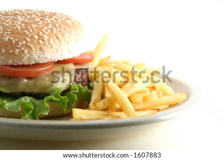 Hamburguer and fries - stock photo