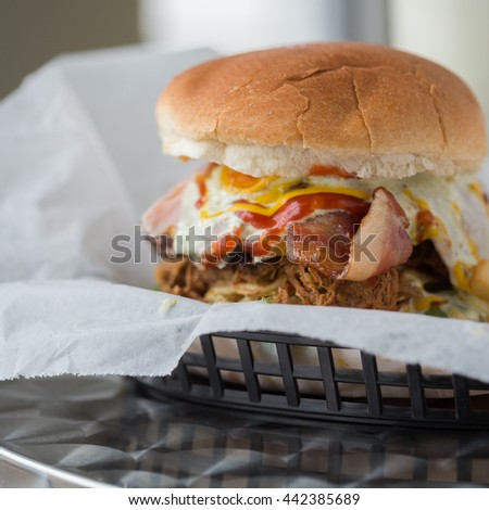 Hamburguesa mixta, Hamburger with three meats  - stock photo