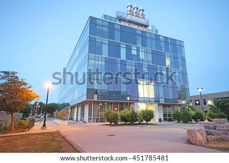 HAMILTON, CANADA - JULY 13, 2016: The buildings of McMaster University. McMaster University is a public research university and a member of U15, a group of research-intensive universities in Canada - stock photo