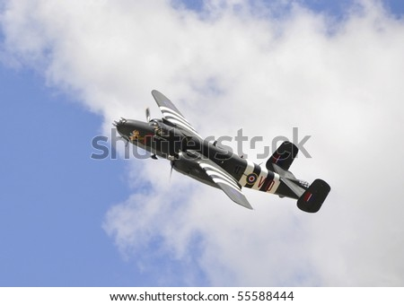 HAMILTON, ON - JUNE 20: B-25 Mitchell on a flight-past at the Canadian Warplane Heritage Museum's Flyfest 2010;  June 20, 2010 in Hamilton, Ontario