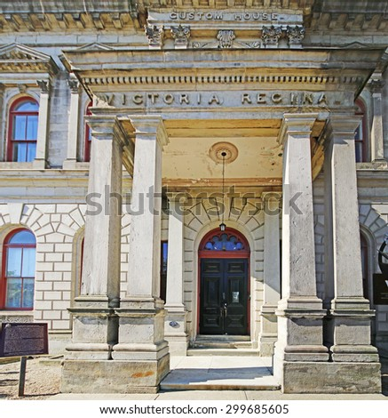 HAMILTON, ONTARIO - JULY 20, 2015: Entrance to the Custom House, Hamilton, 1860. Hamilton is the centre of a densely populated and industrialized region at the west end of Lake Ontario  - stock photo