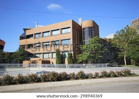 HAMILTON, ONTARIO - JULY 19, 2015: Juravinski Cancer Centre. Hamilton is the centre of a densely populated and industrialized region at the west end of Lake Ontario  - stock photo