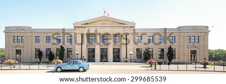 HAMILTON, ONTARIO - JULY 20, 2015: LIUNA Station, Hamilton. Hamilton is the centre of a densely populated and industrialized region at the west end of Lake Ontario  - stock photo