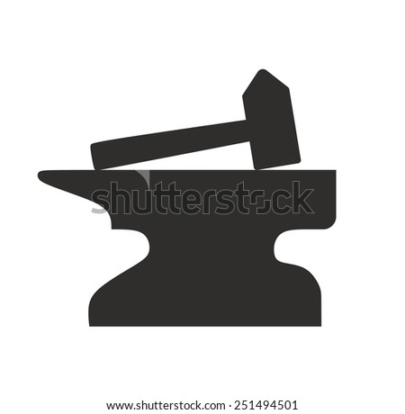 hammer and anvil as symbol for crafts or blacksmiths - stock photo