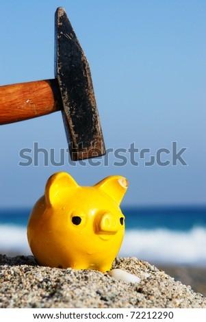 Hammer and Bank - stock photo