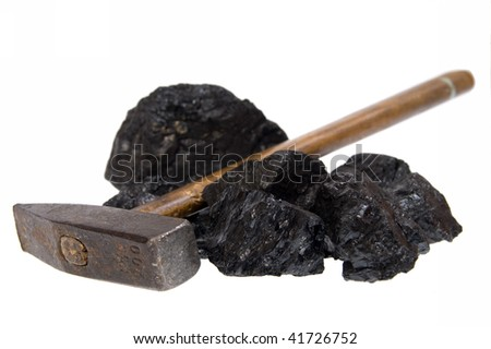 hammer and coal, carbon nugget isolated on white background - stock photo