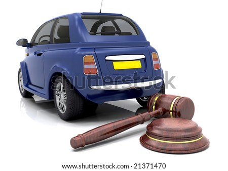 Hammer and gavel in front of a car