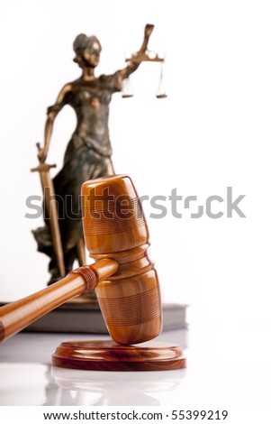 hammer and god of law - stock photo