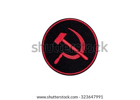 hammer and sickle embroidered badge - stock photo