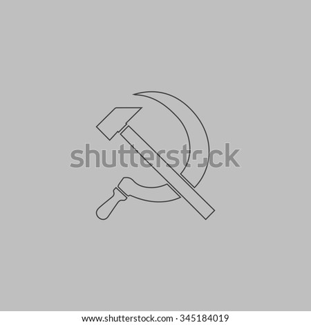 Hammer and sickle. Flat outline icon on grey background