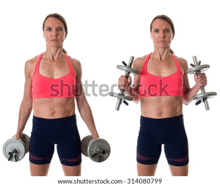 Hammer curl exercise. Studio shot over white. - stock photo