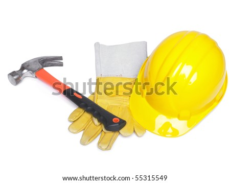 Hammer Hard Hat And Leather Gloves on white