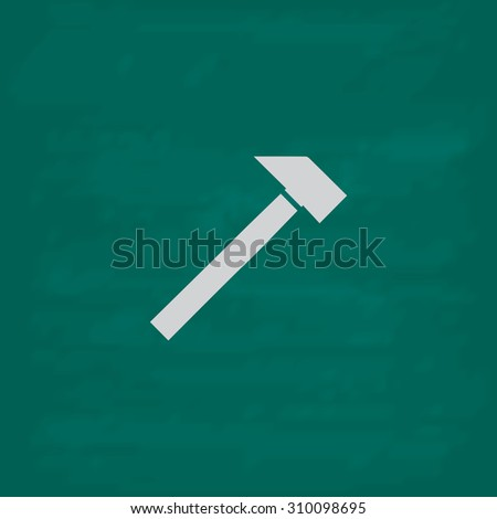 Hammer.  Icon. Imitation draw with white chalk on green chalkboard. Flat Pictogram and School board background. Illustration symbol - stock photo