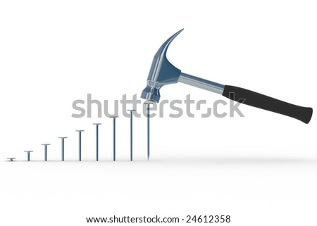hammer in nails. Isolated 3D image - stock photo