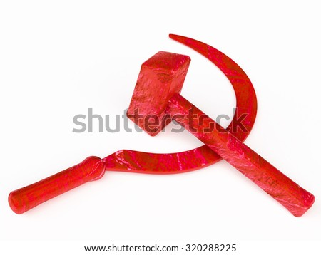 hammer  industrial labourers and sickle for peasantry; combined  stood for worker-peasant alliance for socialism and against reactionary movements and foreign intervention. symbolizing peaceful labour - stock photo