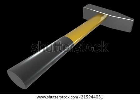 Hammer. isolated on black background 3d illustration. high resolution - stock photo