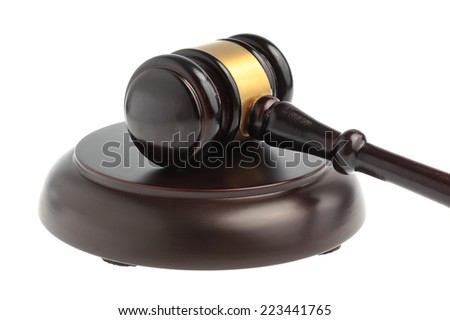 Hammer of judge closeup isolated on white background - stock photo