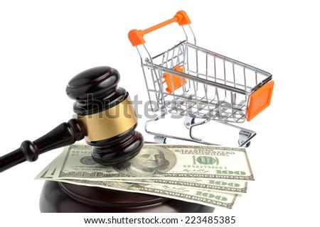 Hammer of judge, pushcart and money isolated on white background - stock photo