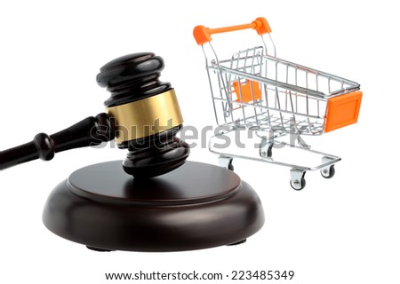 Hammer of judge with pushcart isolated - stock photo