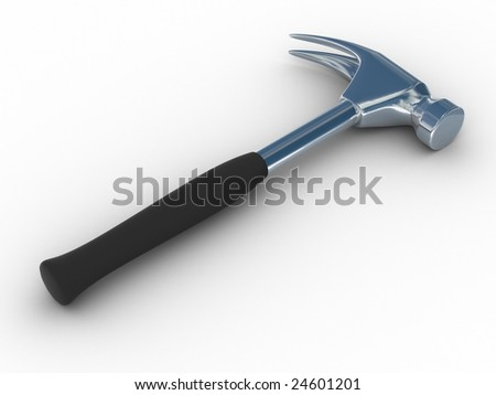Hammer on a white background. Isolated 3D image - stock photo