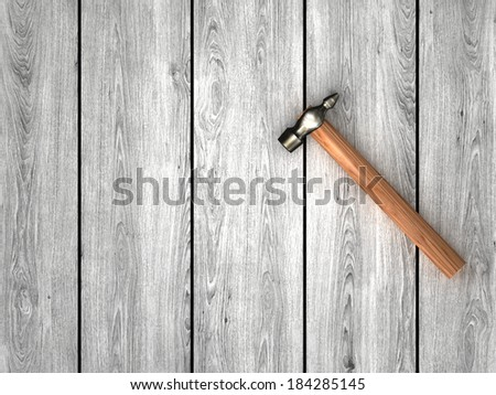 hammer on wooden boards