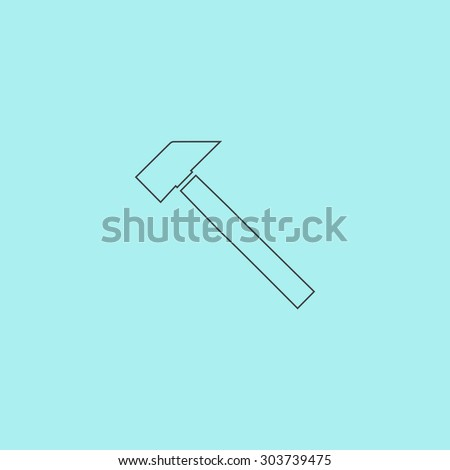 Hammer. Outline simple flat icon isolated on blue background - stock photo
