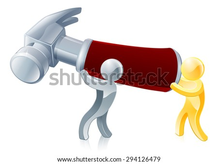 Hammer people illustration of two people holding a giant hammer - stock photo