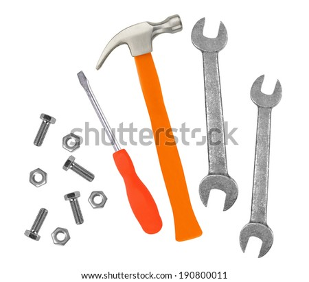 Hammer, screwdriver and wrenches isolated on white background