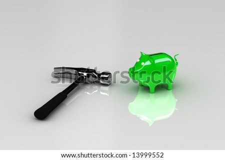 Hammer with piggy bank - ready to get to the money - stock photo
