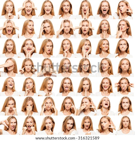 Hamming woman. Female different emotions. collage - stock photo