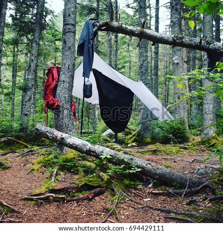 hammock camping in the great gulf wilderness in the new hampshire hammock setup stock images royalty free images  u0026 vectors      rh   shutterstock