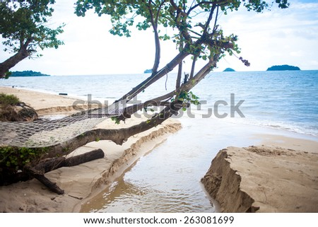 Hammock hanging under exotic tree on beach - stock photo