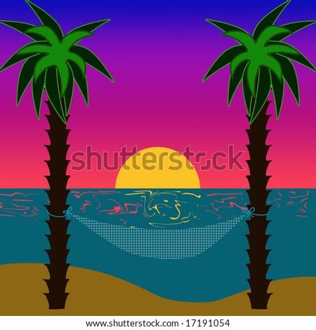 Hammock in an island sunset. - stock photo