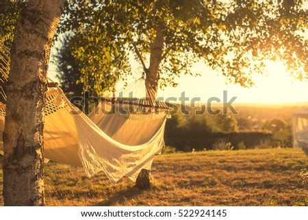 hammock in sunset