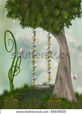 hammock in tree with flowers in a hill