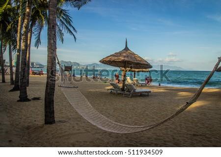 hammock on a paradise beach - Nha Trang Vietnam