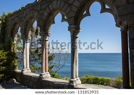 Hammond Castle on the coast of Gloucester, Massachusetts - stock photo