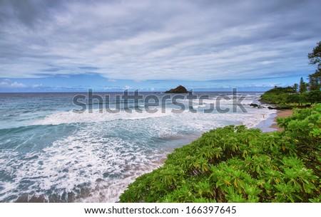 Hamoa Beach viewpoint near Hana, Maui - stock photo