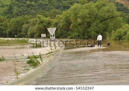 HAMOR, SLOVAKIA - JUNE 4: Flood in Hamor on June 4, 2010 in Lucenec, Slovakia. - stock photo