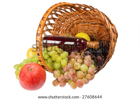 hamper with fruits and whine isolated on the white background