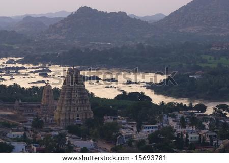 Hampi temple at dusk - stock photo