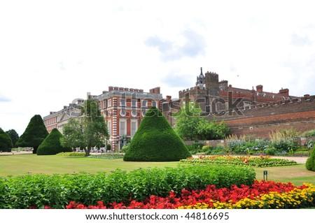 Hampton Court Palace and gardens, United Kingdom - stock photo