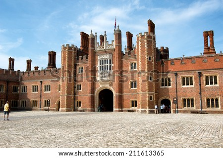 HAMPTON COURT, UK - AUGUST 03, 2014 - Main Court at Hampton Court Palace. Hampton Court Palace is a royal palace in the London Borough of Richmond upon Thames, Greater London on August 03, 2014