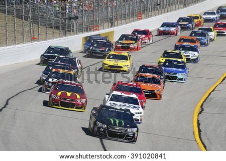 Hampton, GA - Feb 28, 2016: Kurt Busch (41) battles for position during the Folds of Honor QuikTrip 500 at the Atlanta Motor Speedway in Hampton, GA. - stock photo