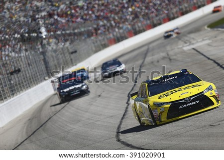 Hampton, GA - Feb 28, 2016: Matt Kenseth (20) battles for position during the Folds of Honor QuikTrip 500 at the Atlanta Motor Speedway in Hampton, GA.