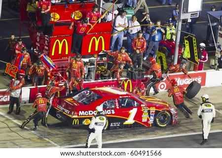 HAMPTON, GA - SEP 05:  Jamie McMurray brings his McDonalds Chevrolet in for service during the Emory Healthcare 500 race at the Atlanta Motor Speedway in Hampton, GA on Sep 05, 2010. - stock photo