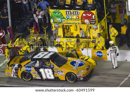HAMPTON, GA - SEP 05:  Kyle Busch brings his Pedigree Toyota in for service during the Emory Healthcare 500 race at the Atlanta Motor Speedway in Hampton, GA on Sep 05, 2010. - stock photo