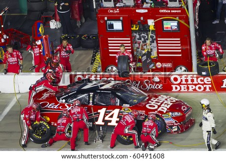 HAMPTON, GA - SEP 05:  Tony Stewart brings his Office Depot Chevrolet in for service during the Emory Healthcare 500 race at the Atlanta Motor Speedway in Hampton, GA on Sep 05, 2010. - stock photo