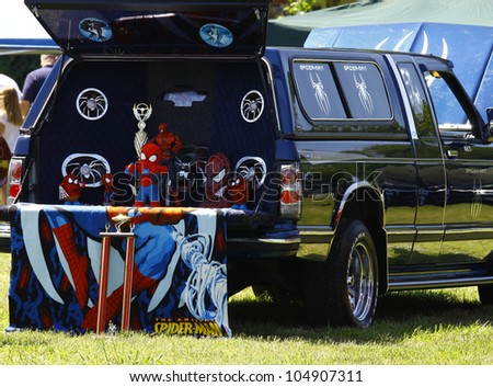 HAMPTON, VA-JUNE 9:A Spider-man pickup at the 3rd annual HCS car show at the Hampton Christian School in Hampton Virginia, 2012 in Hampton Virginia on June 9, 2012. - stock photo